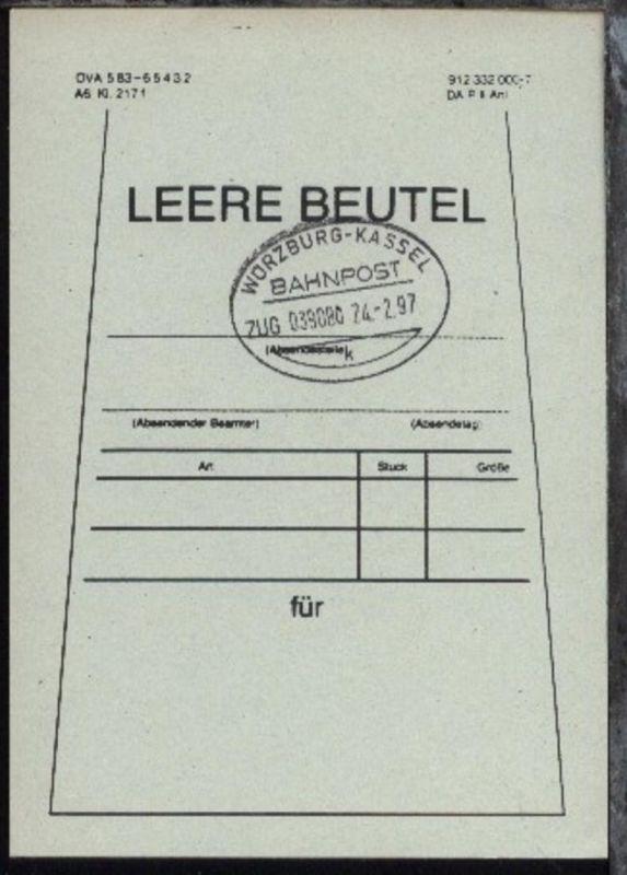 WÜRZBURG-KASSEL k ZUG 039080 24.2.97 auf Beutelfahne