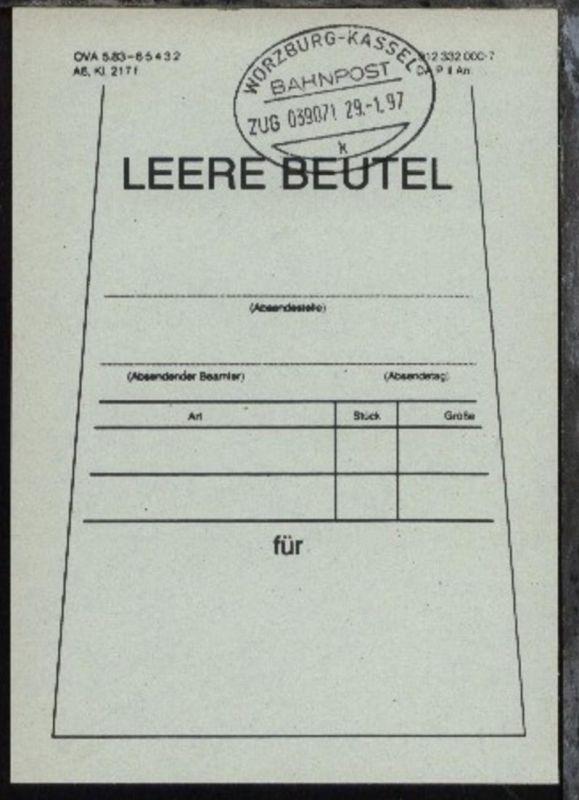 WÜRZBURG-KASSEL k ZUG 039071 29.1.97 auf Beutelfahne