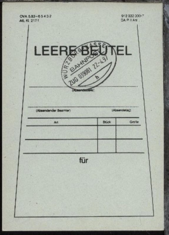 WÜRZBURG-KASSEL h ZUG 039081 22.4.97 auf Beutelfahne
