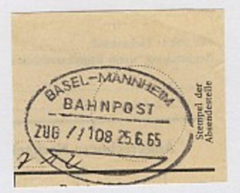 BASEL-MANNHEIM ZUG //108 25.6.65 auf Bf.-Stück 0