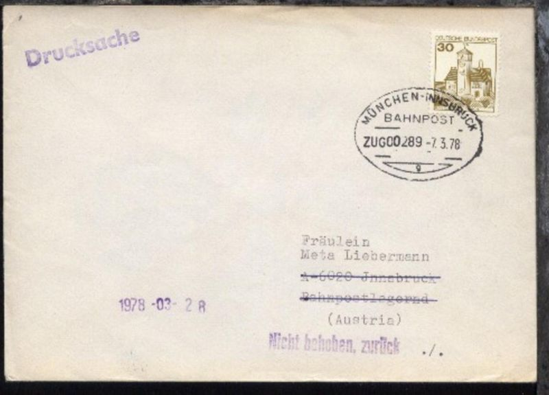 MÜNCHEN-INNSBRUCK g ZUG 00289 7.3.78 auf Bf. 0