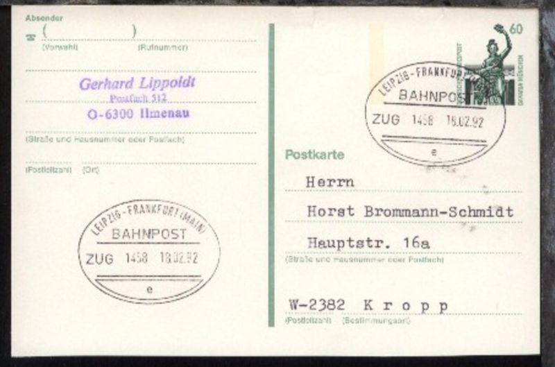 LEIPZIG-FRANKFURT (MAIN) e ZUG 1458 18.02.92 auf GSK 0