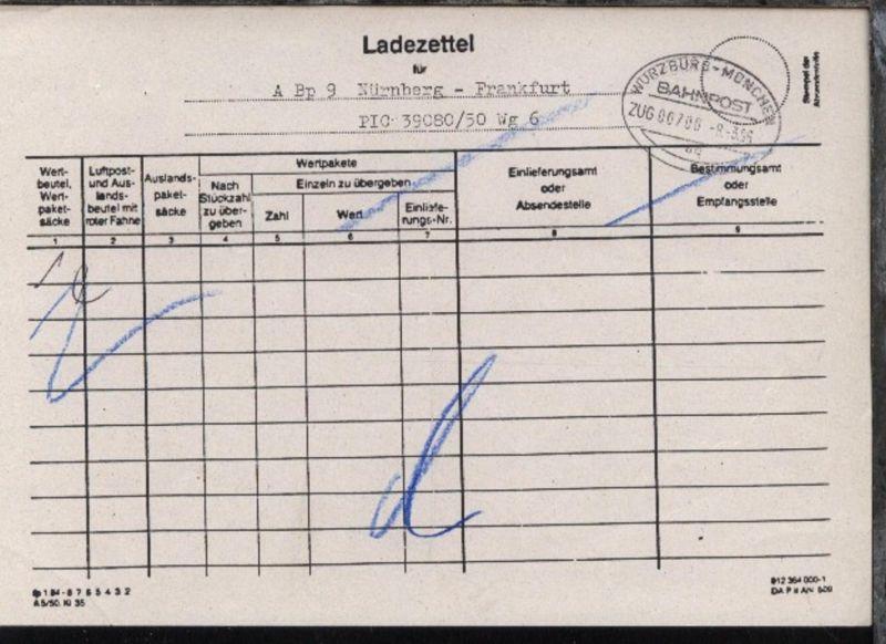 WÜRZBURG-MÜNCHEN aq ZUG 00700 8.3.96 auf Ladezettel