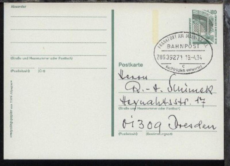 FRANKFURT AM MAIN-BASEL c Nachträglich entwertet ZUG 39271 19.4.94 auf GSK 0
