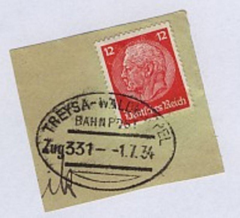 TREYSA-WALDKAPPEL Zug 331 1.7.34 auf Bf.-Stück