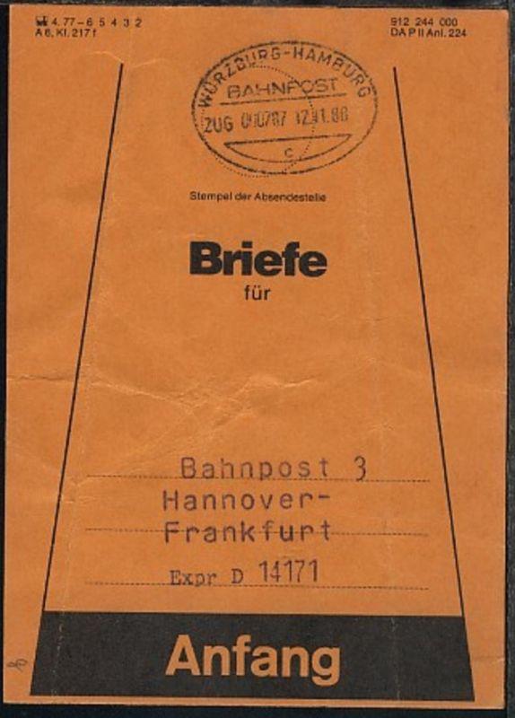 WÜRZBURG-HAMBURG c ZUG 000787 12.11.881 auf Beutelfahne