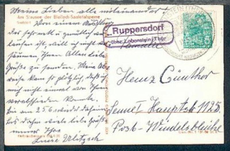 Ruppersdorf über Lobenstein/Thür (R2) + Orts-Werbe-Stpl. Lobenstein 13.6.60 auf