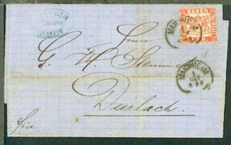 3 Kr. auf Bf. mit K1 MANNHEIM 1 NOV (1869) nach Durlach