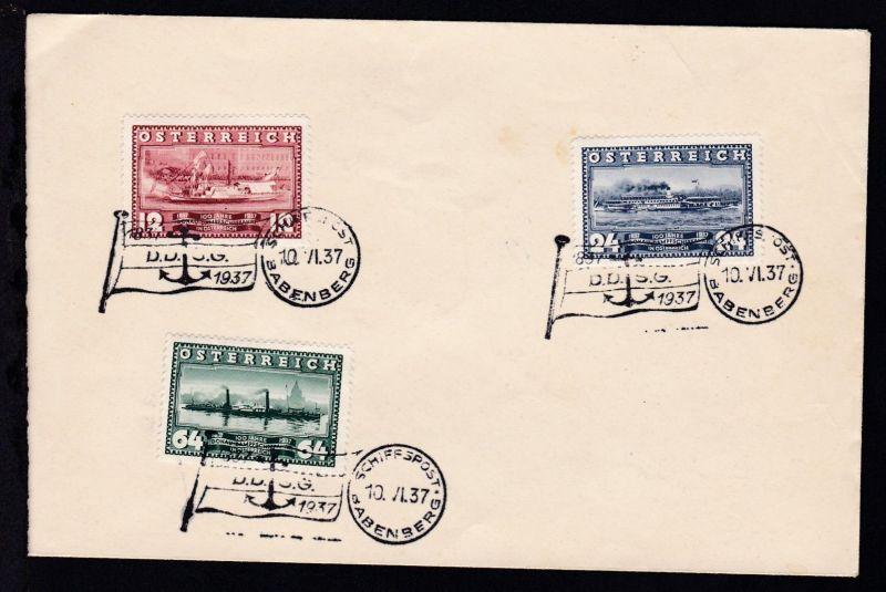 SCHIFFSPOST BABENBERG 10.VI.37 1837 1937 D.D.S.G. auf Brief ohne Anschrift