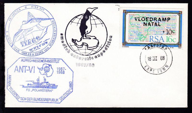 OSt. Kapstadt 18 III 88 + Cachet FS Polarstern auf Brief ohne Anschrift