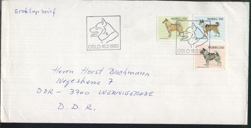 Norwegen 1975/83 9 verschiedene FDC, 2x ohne Anschrift, 7x nach Wernigerode/DDR
