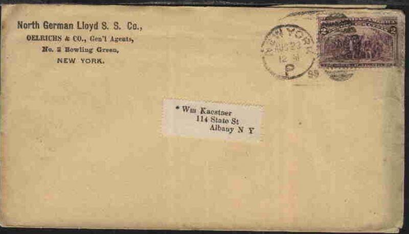 Duplex-Stpl. NEW YORK P/? AUg 23 98 auf Firmen-Bf. (North German Lloyd S.S Co) n