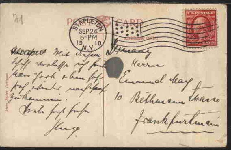 Flaggen-Stpl. STAPLETON NY SEP 24 1910 auf CAK (SS Arabic) nach Frankfurt/Main