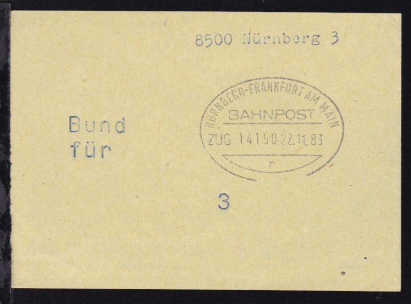 NÜRNBERG-FRANKFURT AM MAIN BAHNPOST r ZUG 14150 22.11.83 auf Briefbundzettel
