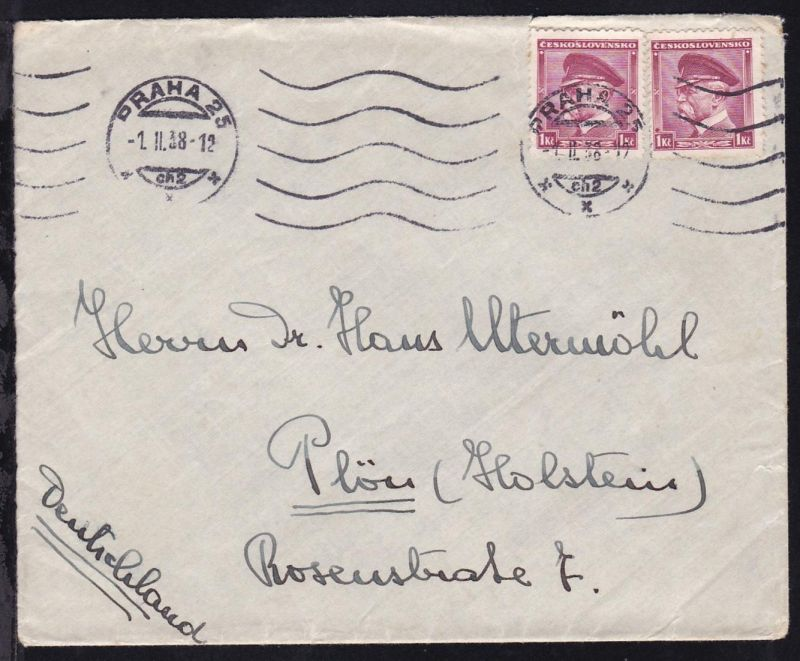 Masaryk 1 Kc 2x auf Brief ab Prag 1.II.38 nach Plön (Holstein)
