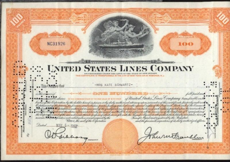 1952 United States Line Company  Aktie über 100 Anteile