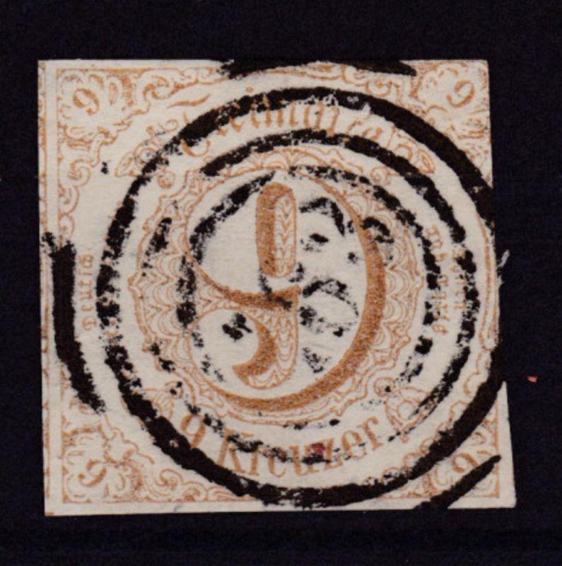 Ziffer 9 Kr. mit Nummernstempel 163 (= Worms)