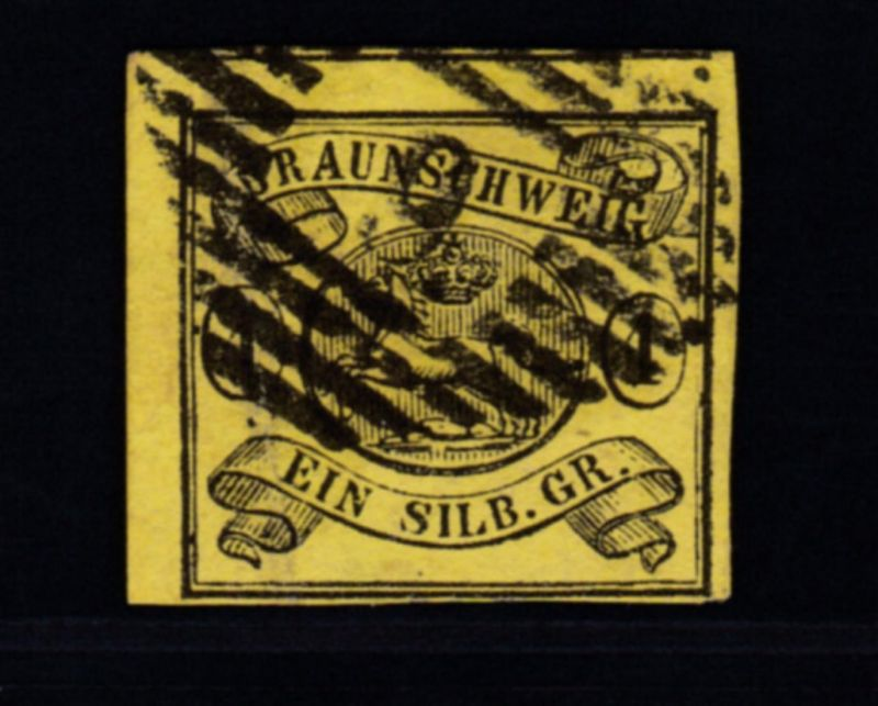 Wappen 1 Sgr. mit Nummernstempel 9 (= Braunschweig Bahnpost)