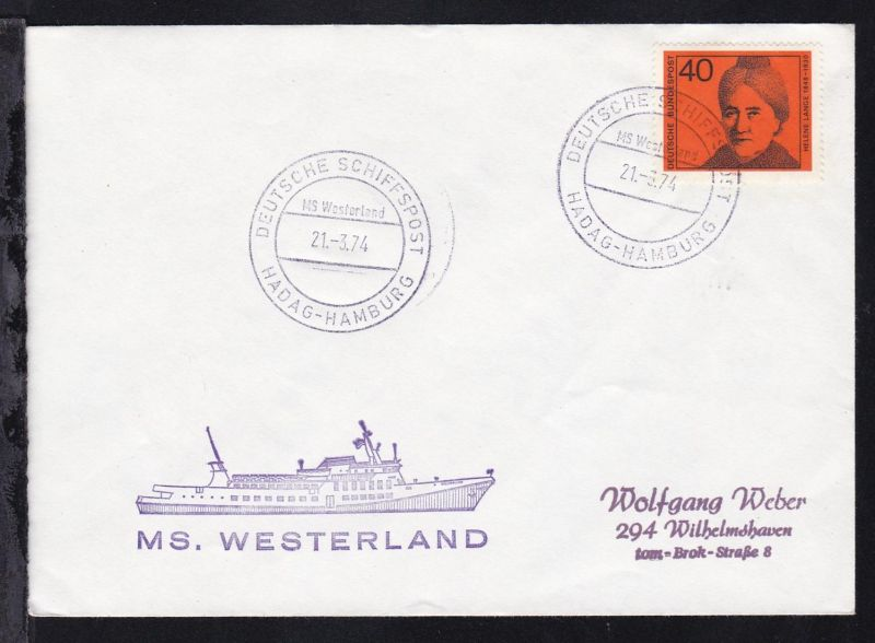 DEUTSCHE SCHIFFSPOST MS Westerland HADAG-HAMBURG 21.3.74 + Cachet auf Brief