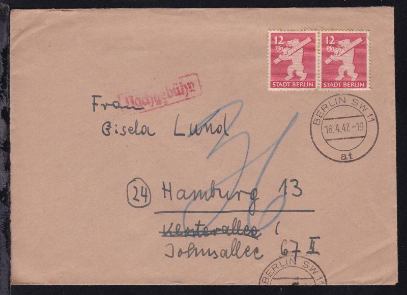 Berliner Bär 12 Pfg. waager. Paar auf Brief ab Berlin 16.4.47 nach Hamburg