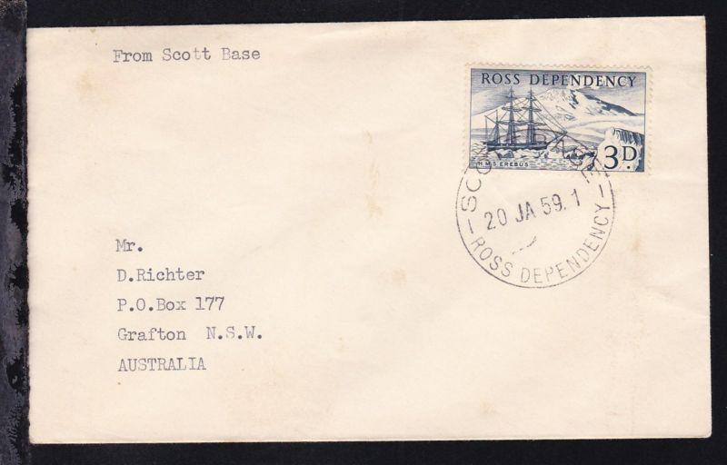 HMS Erebus auf Brief mit K1 SCOTT BASE ROSS DEPENDENCY 20 JA 59