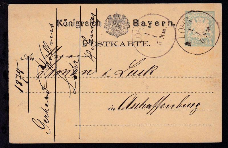 Wappen 5 Pfg. mit K1 LOHR 4.1. nach Aschaffenburg
