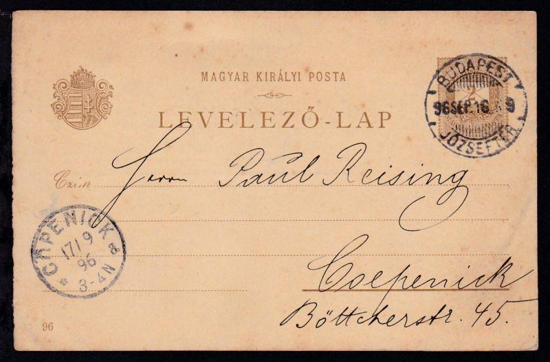 Ganzsache Ziffer 2 Kr. mit Bild (Budapest rechtes Ufer) ab Budapest 96 SEP. 16
