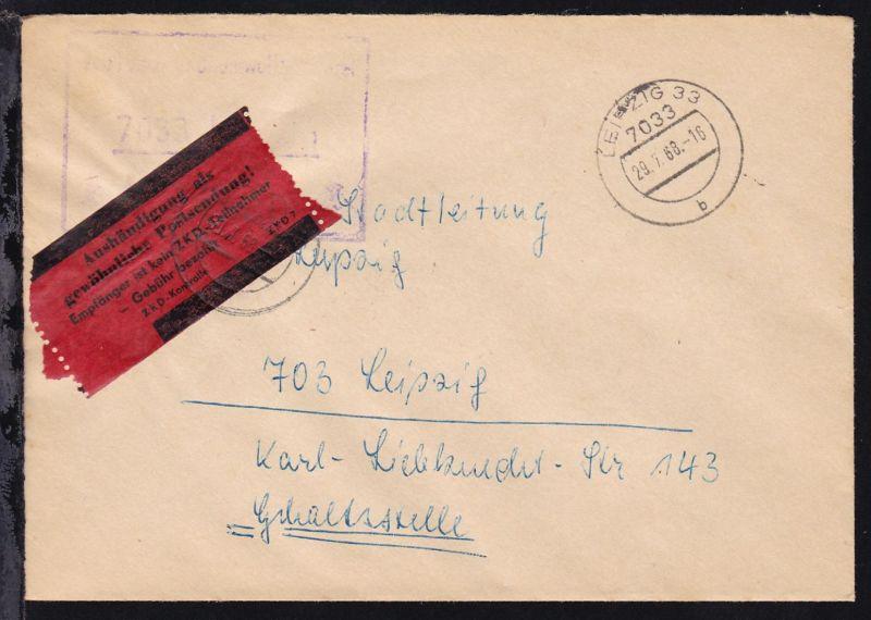1968 ZKD-Brief des VEB Leipziger Baumwollspinnerei mit Aufkleber