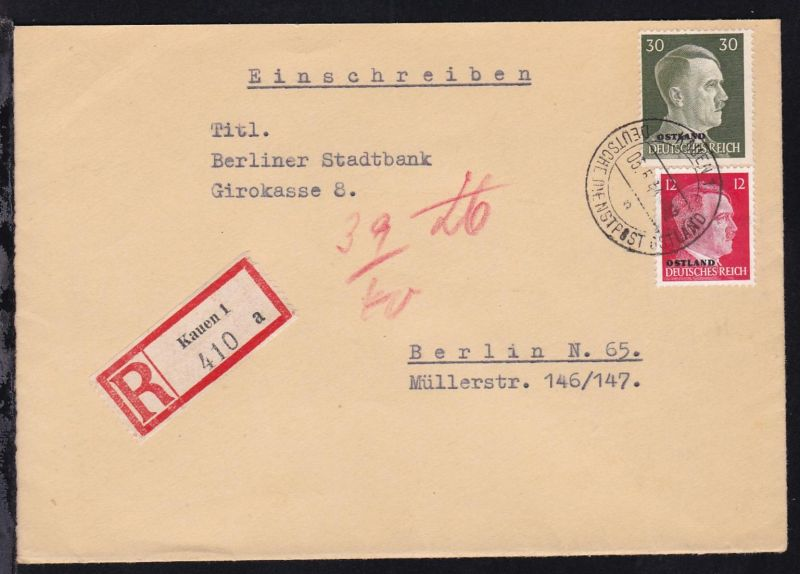 Hitler mit Aufdruck OSTLAND 12 Pfg. und 30 Pfg.  auf R-Brief ab Kauen 05.5.44