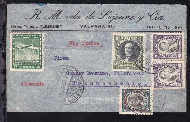 Firmenbrief (R.M. vda. de Lejeune y Cia., Valparaiso) mit Leitvermerk Via Condor