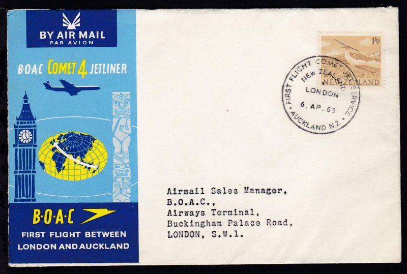 BOAC-Erstflug-Brief Auckland-London 6.4.1963