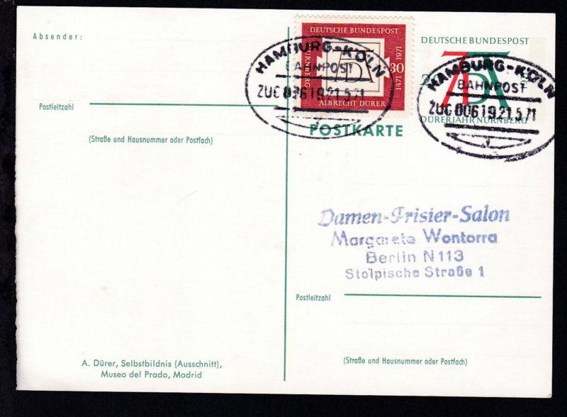 HAMBURG-KÖLN BAHNPOST f ZUG 00619 21.5.71 auf Ganzsache