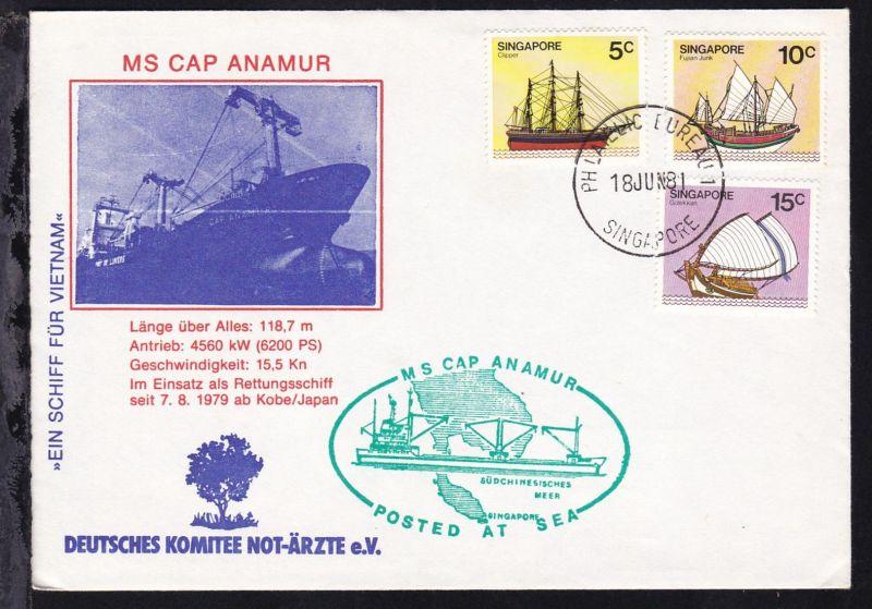 OSt. Singapore 18 JUN 81 auf Sonderumschlag MS Cap Anamur ohne Anschrift