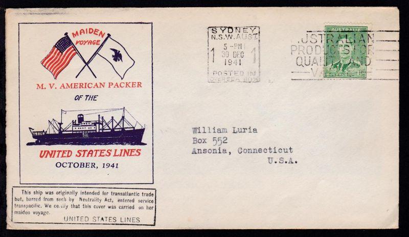 OSt. Sydney 30 DEC 1941 + Cachet Jungfernfahrt MV American Packer auf Brief