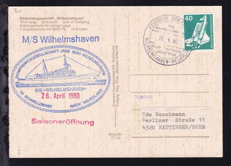 DEUTSCHE SCHIFFSPOST MS WILHELMSHAVEN SCHIFFAHRTSGES.