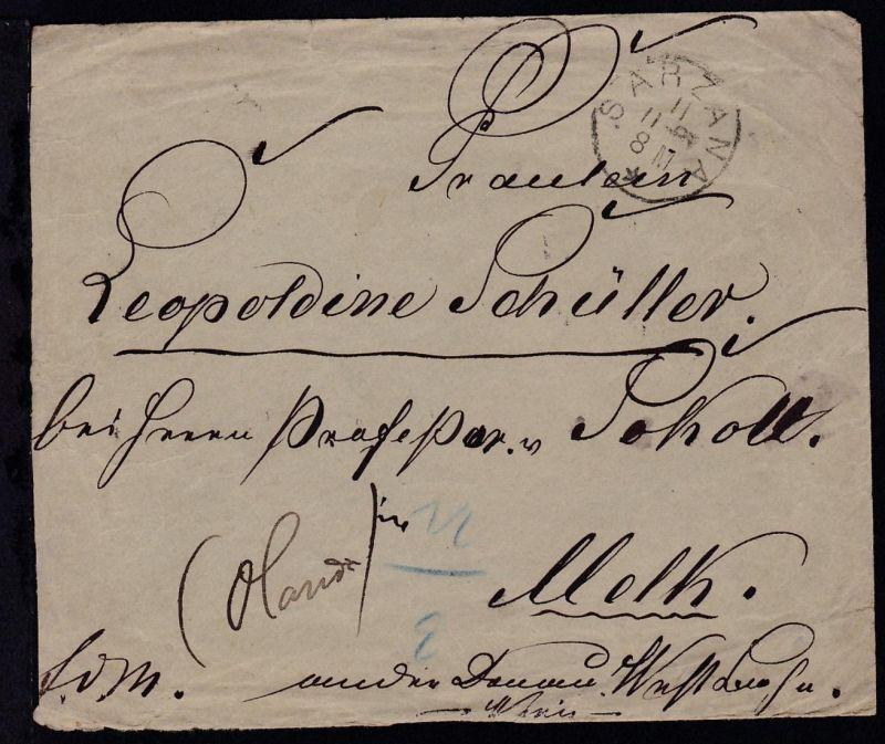 König Umberto I 25 C. rs auf Brief ab Sarzana 11.11.87 nach Melk mit 3