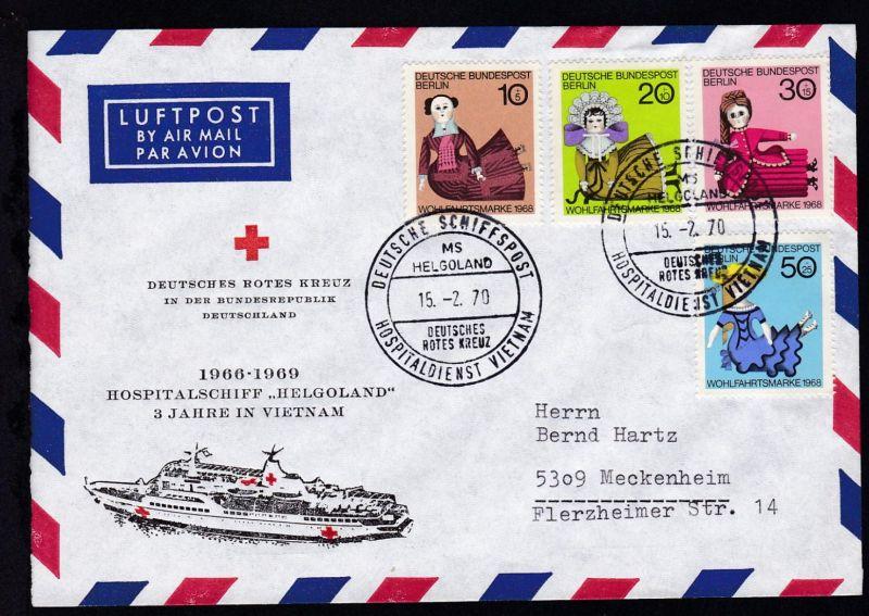 DEUTSCHE SCHIFFSPOST MS HELGOLAND DEUTSCHES ROTES KREUZ HOSPITALDIENST VIETNAM