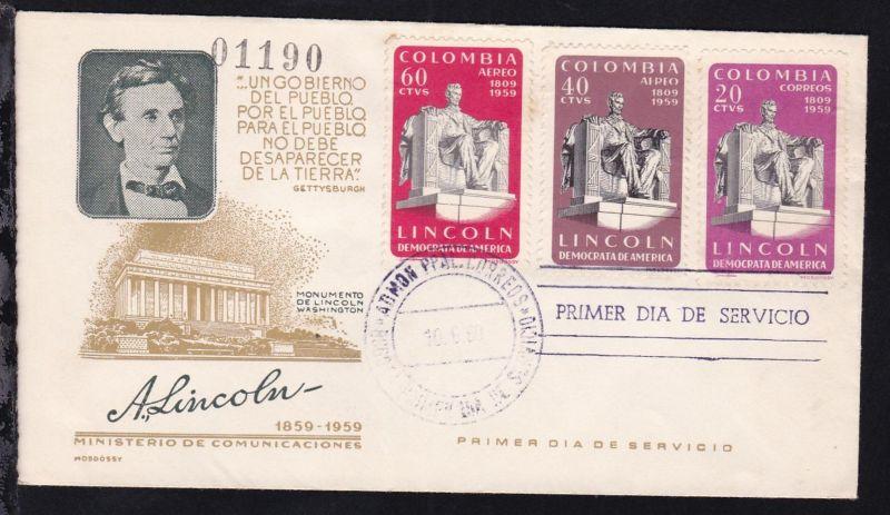 150. Geburtstag von Abraham Lincoln auf FDC ohne Anschrift 0