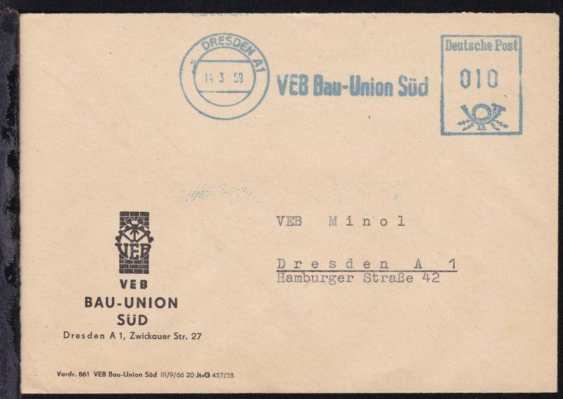 Dresden AFS DRESDEN A1 14.3.59 VEB Bau-Union Süd Deutsche Post 010 auf Brief