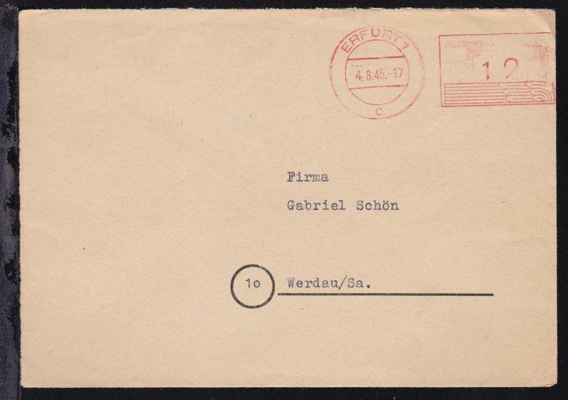 Erfurt PSF ERFURT 1 c 4.8.45 12 auf Brief