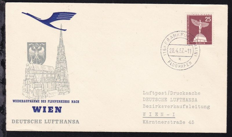 Lufthansa-Erstflugbrief Frankfurt-Wien 28.7.1957