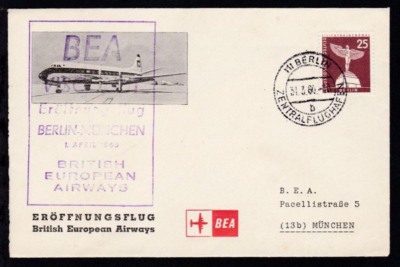 BEA-Erstflugbrief Berlin-München 1.4.1960