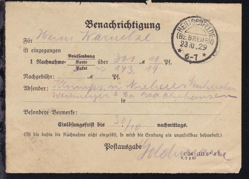 Syke OSt. HEILIGENFELDE (Bz. BREMEN) 23.10.29 auf Benachrichtungs-Schein