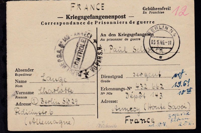1946 Kriegsgefangenenkarte ab Berlin an Lager 143 Annecy/Frankreich