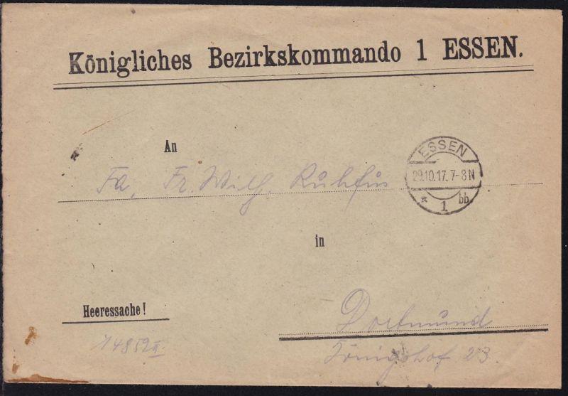 Essen Dienstbrief (Heeressache) des Königlichen Bezirkskommando 1 Essen
