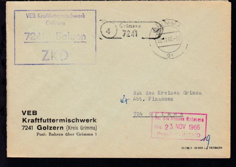 1966 ZKD-Brief des VEB Kraftfuttermischwerk 7241 Golzern (Kreis Grimma)