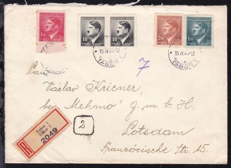 Hitler 10 H. (waager. Paar), 1,20 K, 1,60 K. und 2,40 K. auf R-Brief ab Tabor