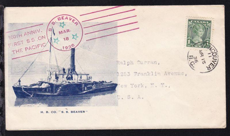 OSt. Vancouver MR 18 36 + Cachets SS Beaver auf Brief mit Schiffsbild