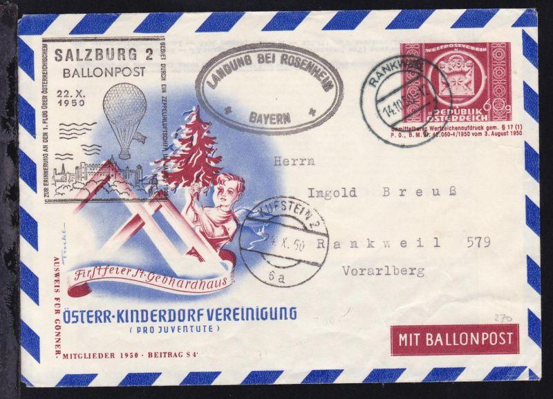 Österreich 1950/59 8 verschiedene Ballonpost-Belege