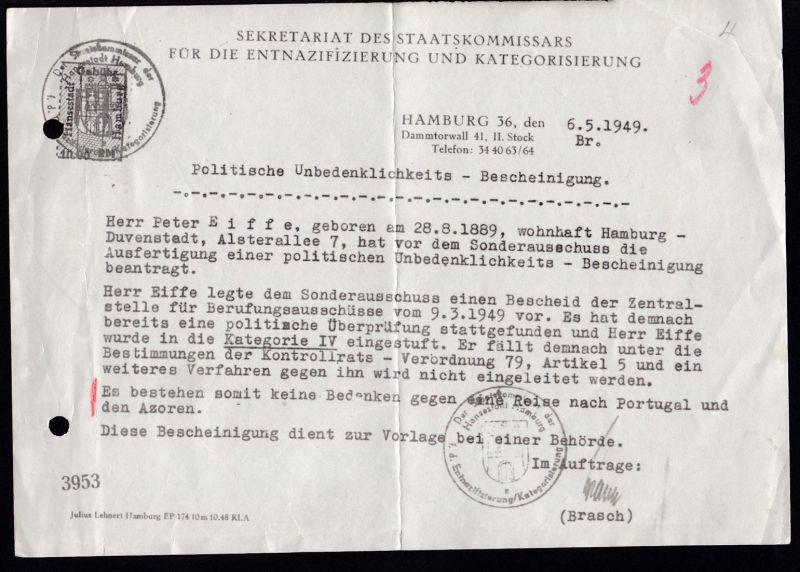 Hamburg 1949 Politische Unbedenklichkeits-Bescheinigung, Aktenlochung